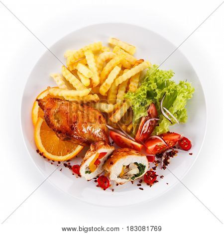 Stuffed chicken fillet with french fries