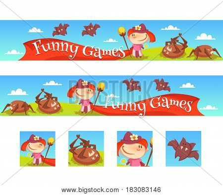 Vector illustration of the layout of a game banner with the girl, spiders and bats