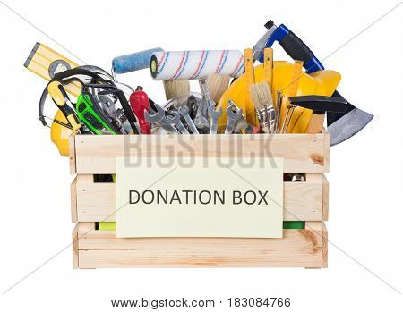 Tools donations box isolated on white background
