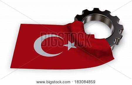 gear wheel and flag of Turkey - 3d rendering