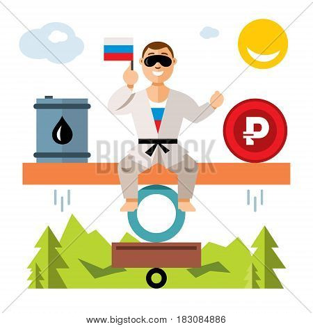 Man balances with the barrel and coin. Isolated on a white background