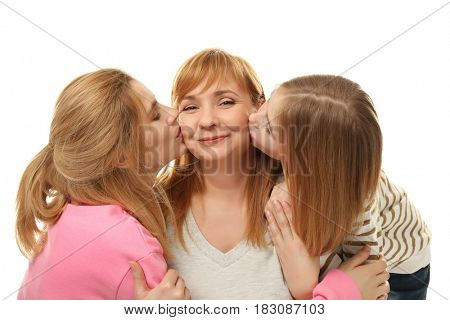 Happy mature woman with her family on white background