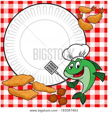 A vector illustration of a Fish Cookout invite.