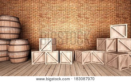room with beer barrels and wood boxes,brown brick wall and wood floor ,3D rendering interior