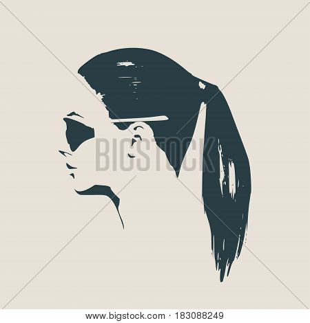 Portrait of beautiful woman in black sunglasses. Pony tail hair style. Vector version. Side view