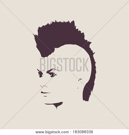 Face half turn view. Elegant silhouette of a female head. Vector Illustration. Mohawk hair style. Monochrome gamma.