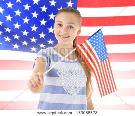 Teenage girl on USA flag background
