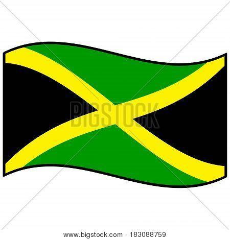 A vector illustration of a Jamaican flag.