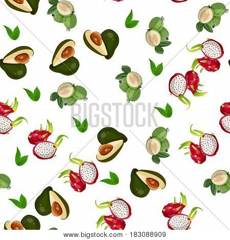 Very high quality original trendy vector seamless pattern with pitaya, avocado, feijoa, dragon fruit, exotic tropical fruit