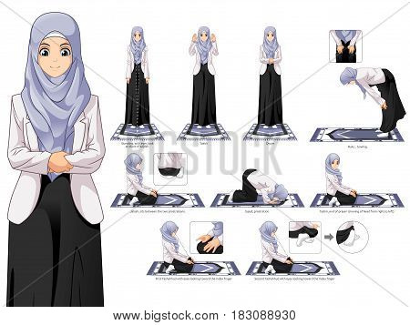 Complete Set of Muslim Woman Prayer, Standing, Bowing, Sitting, and Prostration Position Guide Step by Step Vector Illustration