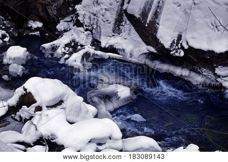 Pure mountain stream at resort on winter day