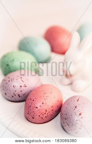 Colorful eggs on the Easter vintage white ceramic dish