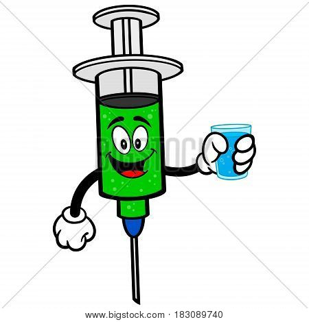 A vector illustration of a Flu Vaccination syringe.