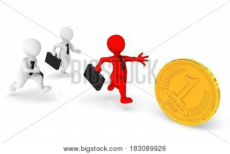 Business People Runs, Pursuing A Gold Coin.