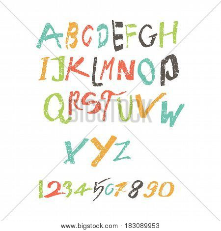 Color letters of the alphabet, childrens font, written by the child, not neat latin letters