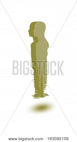 Human head silhouette on grunge brush stroke. Abstract icon. Vector Illustration. Isometric icon