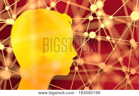 Silhouette of a woman's head. Mental health relative brochure, or report design. Scientific medical theme. Molecule And Communication. Connected lines with dots. 3D rendering. Metallic material