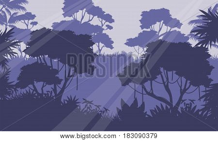 Silhouette of jungle forest scenery vector illustration