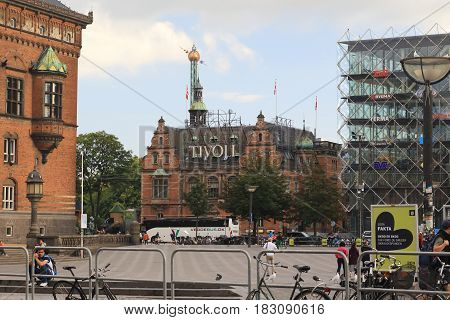 COPENHAGEN, DENMARK - JUNE 29, 2016: This is the entrance to Tivoli Park from the Town Hall Square.