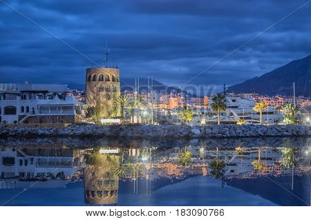 Tower in Puerto Banus at dusk in Marbella Andalusia Spain