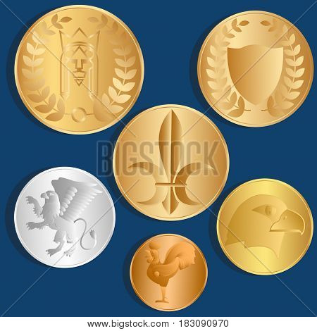 Different metal coins. Blue background. Vector Image