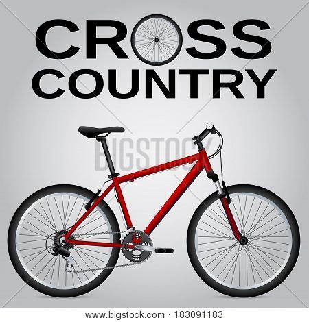 Cross-country bike. Detailed drawing. Isolated object. Vector Image