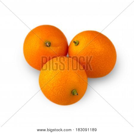 Three delicious kumquat carved on a white background