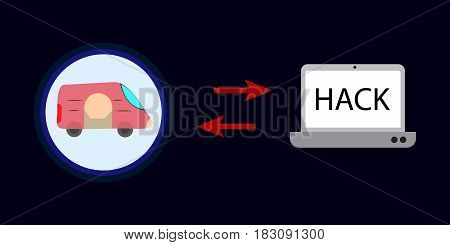 vector work on hack drive with laptop icon