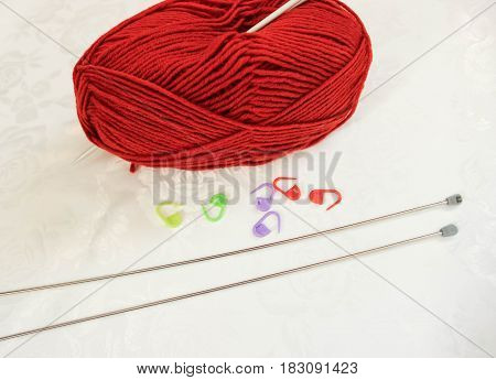 Woolen yarn, needles and pins for knitting