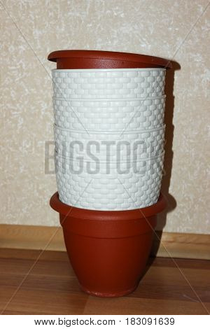 White and brown pots for planting flowers