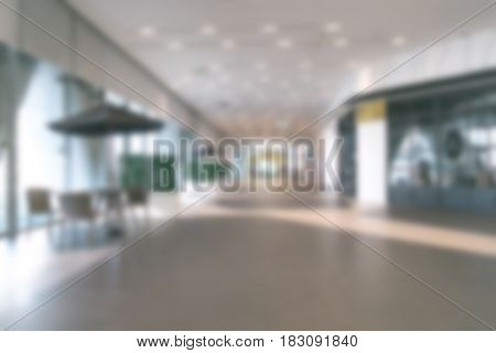 Blur Office Background Lobby Area With Resting Wooden Table