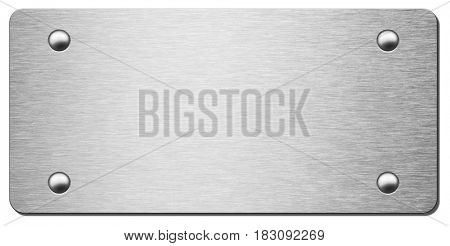 metal plaque with rivets isolated on white as background 3d illustration