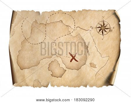 old pirates treasure scroll map isolated on white 3d illustration