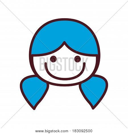 hand drawing silhouette front face girl with blue pigtails hairstyle vector illustration