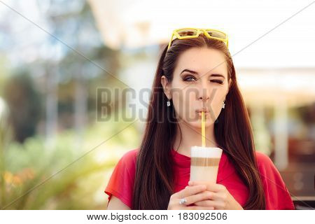 Cool Girl Winking and Sipping Summer Coffee Drink
