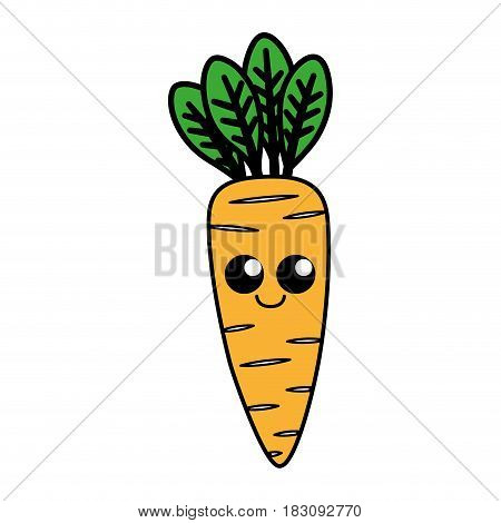 kawaii carrot vegetable icon over white background. colorful desing. vector illustration