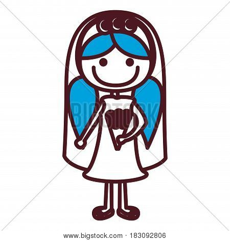 hand drawing silhouette caricature woman in wedding dress with blue pigtails hairstyle vector illustration