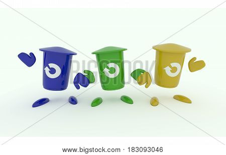 Three colorful garbage bins with a recovery icon on a white background 3d recycling image