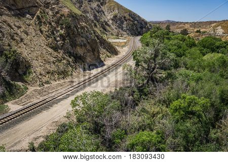 Railroad Track In Canyon