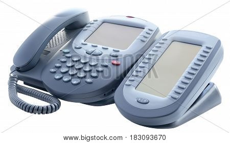 Digital telephone set with expansion button module isolated on the white background