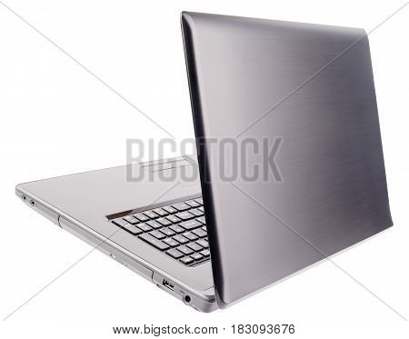 Notebook with open cover rear isometric view isolated on the white background