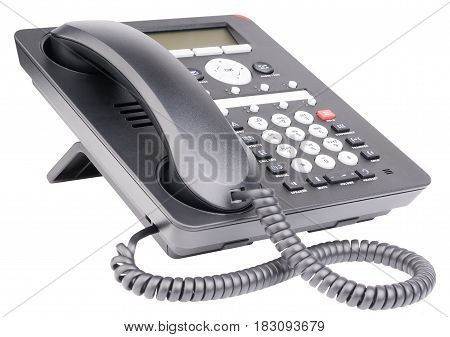 Office digital telephone set with LCD isolated on the white background