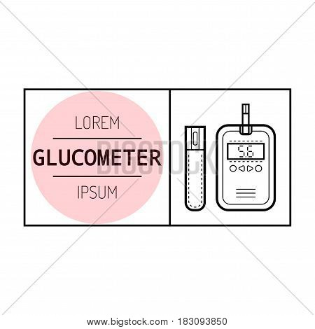 Glucose meter. Diabetes. Flat icon and object of medical equipment. Illustration