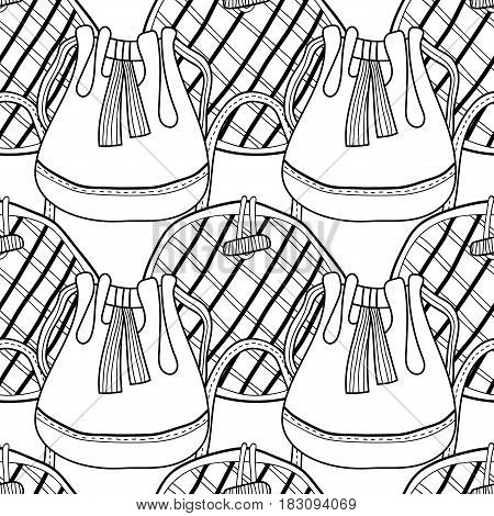 Fashion women handbag for coloring book. Black and white seamless pattern of stylish accessories. Vector illustration