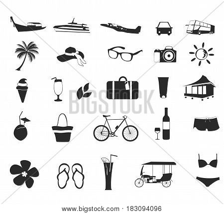 Set of holiday icons set. Black and white Travel and holiday, summer icons vector.