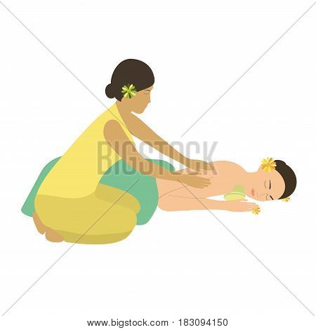 Woman getting best massage in Wellness center. Woman Spa Massage vector illustration.