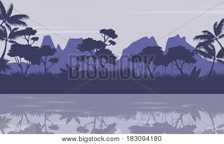 Silhouette of jungle with reflection scenery vector illustration