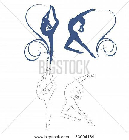 Set of silhouettes of gymnastic girls. Gymnastics girl vector illustration isolated.