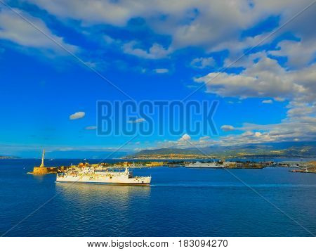Messina, Sicily, Italy - May 05, 2014: The view of port of Messina, the main entrance of the port with ships at Messina, Sicily, Italy on May 05, 2014