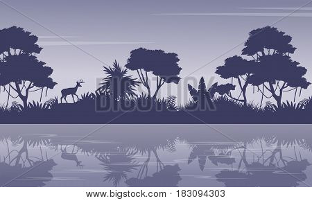 Collection jungle scenery with tree silhouettes vector art